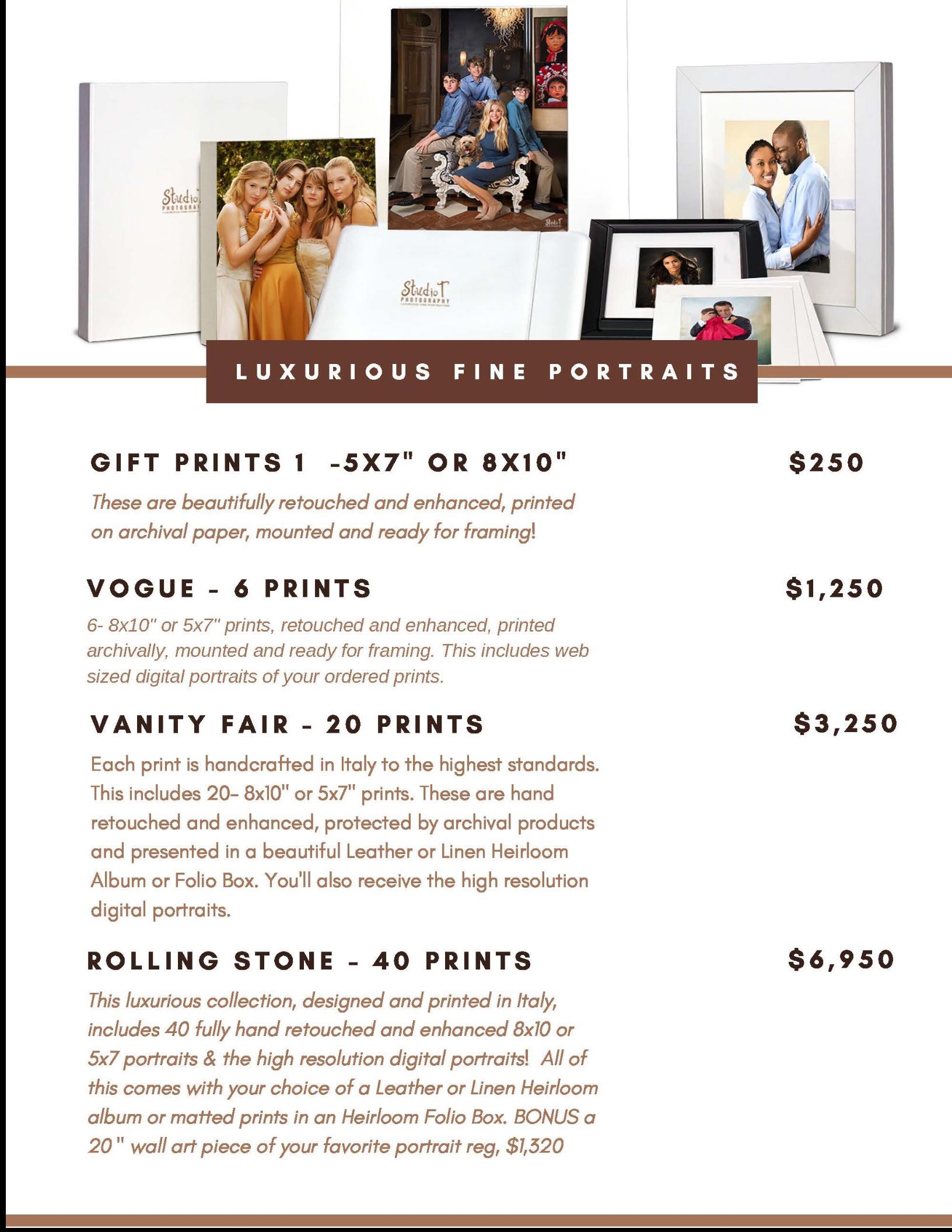 gift size print menu