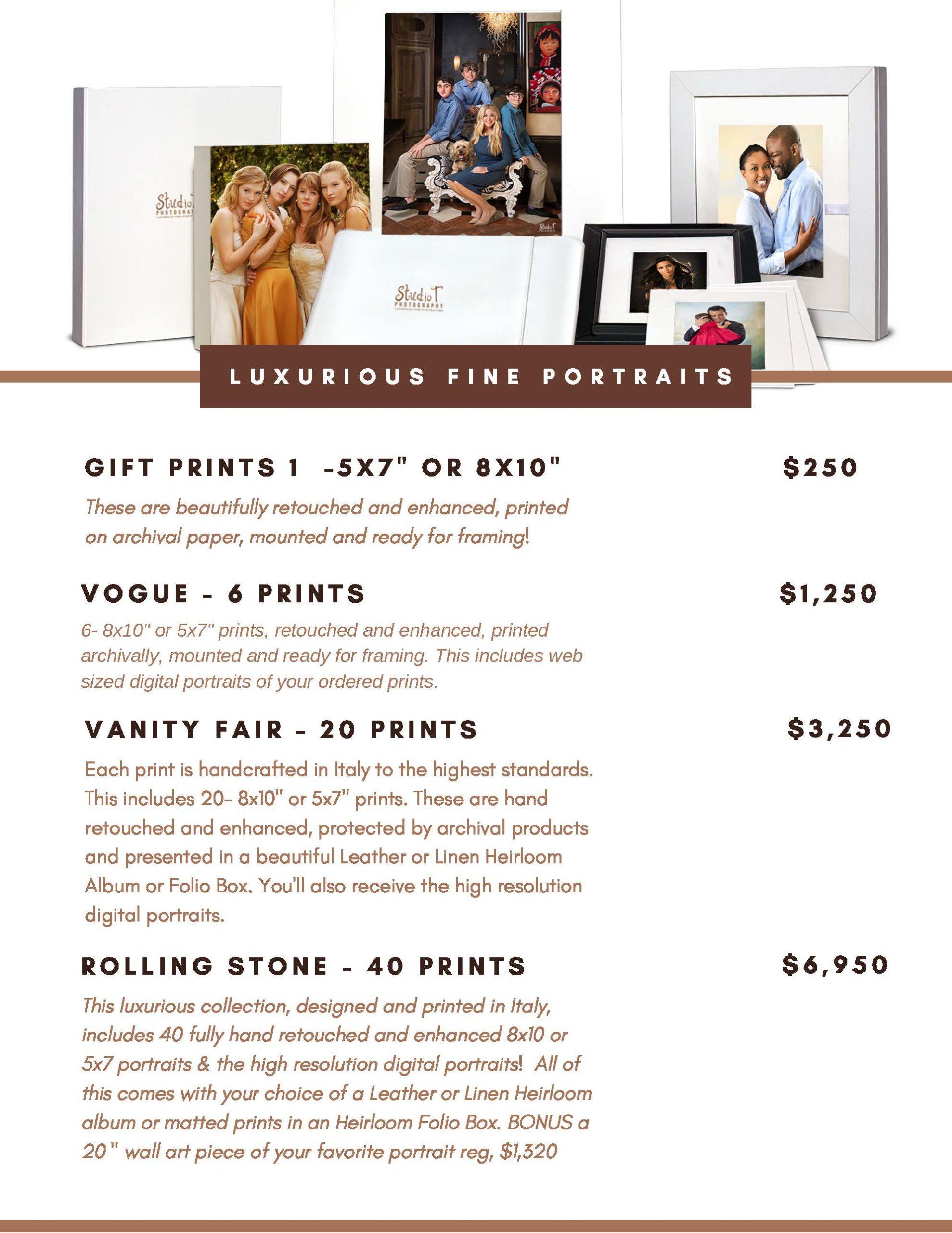Family gift size price menu
