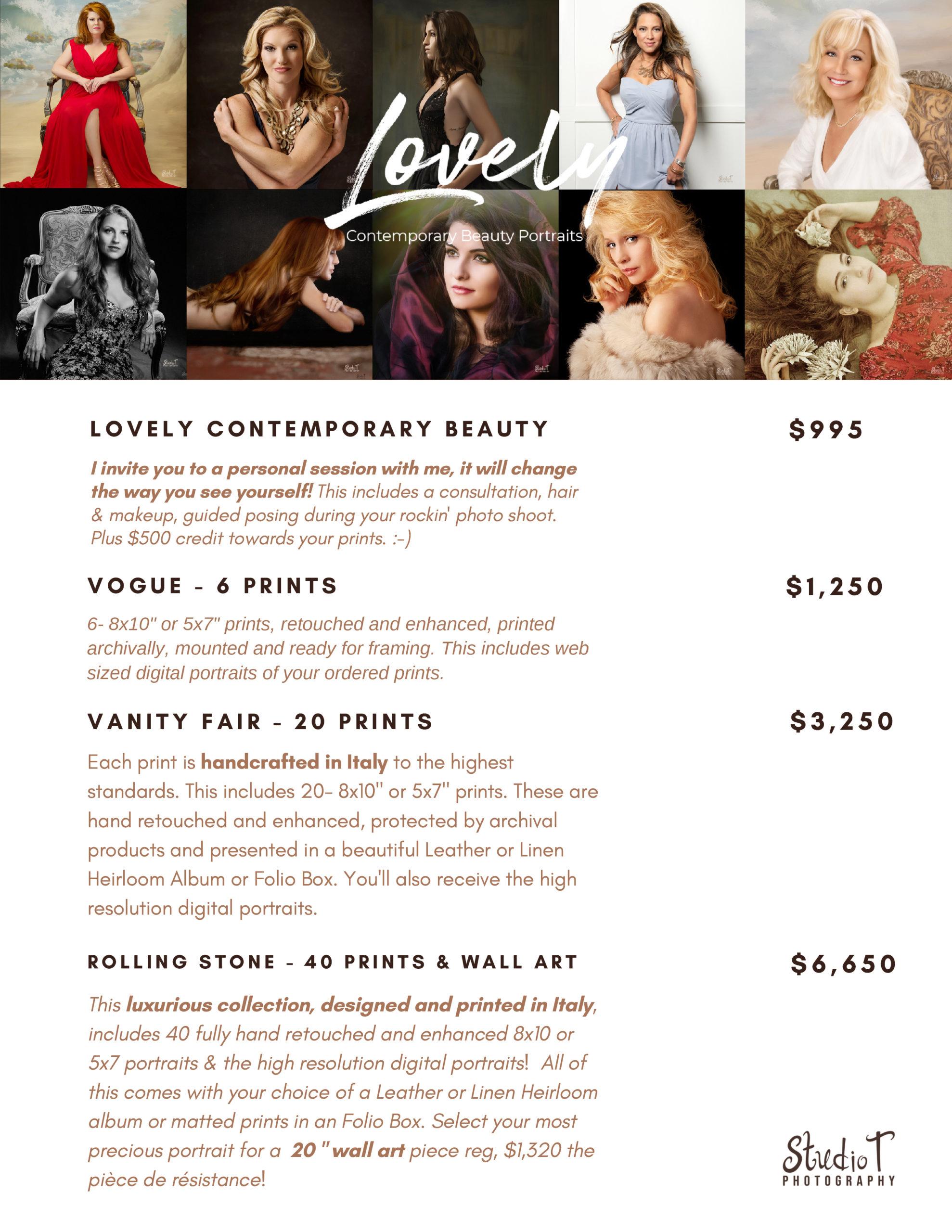 Contemporary Beauty Price Menu
